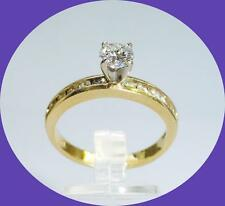 PRETTY 14K YELLOW GOLD ROUND DIAMOND ENGAGEMENT RING - SIZE 6.75