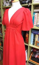 VINTAGE 70s DOES 30s RED MAXI DRESS GLAM ROCK 8 10 FLUTTER SLEEVES OPEN BACK