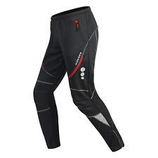 Men Waterproof Cycling Pants Thermal Fleece Riding Running Sports Trousers Black