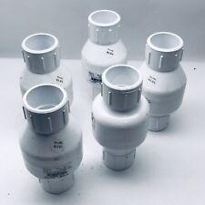 LOT OF 5 FLOW CONTROL  1¼ PVC SPRING CHECK VALVE