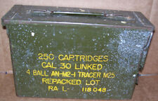 Military Ammo Box 250 Cart. Cal 30 Linked 4 Ball AN-M2-1 Tracer M25 Tool Box
