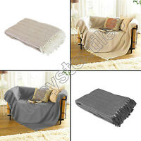 Como 100% Cotton Sofa Chair Bed Blanket Throw Grey Natural/Small, Medium & Large