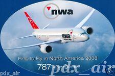 NWA NORTHWEST AIRLINE BOEING 787 DREAM LINER OVAL STICKER