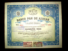 Banco Pan de Azucar  500 Pesos Share certificate  Uruguay 1962