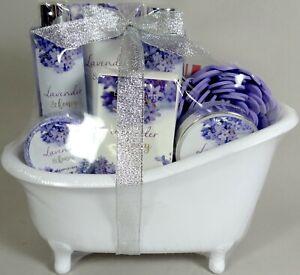 Bath Gift Set Lot 8 Lavender Honey Bathtub Salts Soap Lotion Bubble Shower Gel