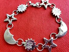 925 Sterling Silver Star Sun and  Moon Link  BRACELET  7.5''