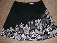 PETER NYGARD Full Above Knee Skirt Cotton Black White Pleats Embroidery Women 16