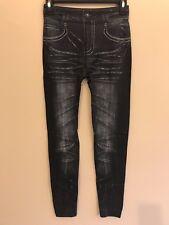 Women Faux Denim Slim Leggings Pants Black