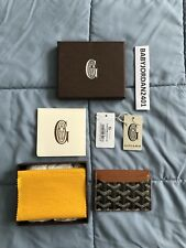 100% Authentic GOYARD Saint Sulpice Leather Card Holder Wallet Black / Tan gucci