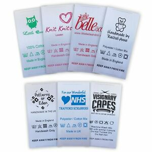 Sew-in Garment Labels Customised with Washing Care Symbols/Instructions