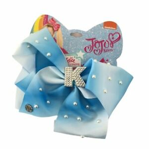 Justice JoJo Siwa Blue Ombré Pearl Accent Initial Letter K Hair Bow Clip