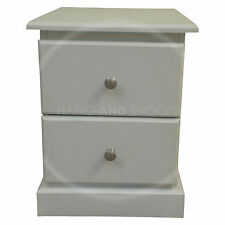 HAND MADE CAMBRIDGE 2 DRAWER BEDSIDE WHITE (ASSEMBLED)