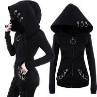 NEUF gothique femmes fille punk noir à capuche soudure- pulls veste manteau