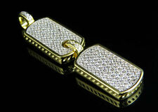 ".925 Sterling Silver Men's Dog Tag Pendant Yellow Gold Finish Lab Diamonds 1.8"""
