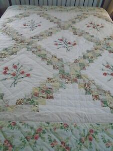 Vintage Hand Quilted Triple Irish Chain & Ribbon Flowers Quilt 85x82 queen #593