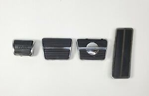 Disc Brake Clutch Gas Pedal Pad Kit w/ Chrome Trim Set for 67-68 Camaro Firebird