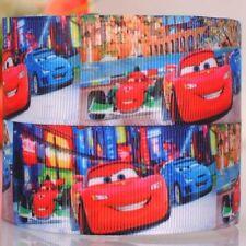 RUBAN GROS GRAIN ** 22 mm ** Voiture Cars Rouge Bleu - vendu au mètre