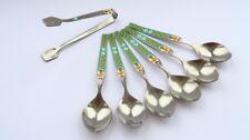 Vintage Set of 6 Silverplate Tea Spoons & Tongs for Kids USSR Enamel in Box
