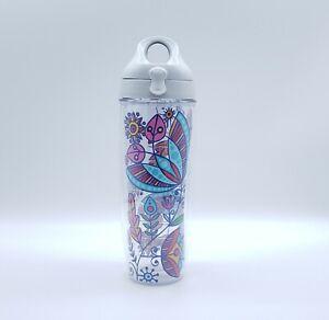Tervis 24 oz Water Bottle Colorful Floral Flower Designs Flip Top Cup Tumbler