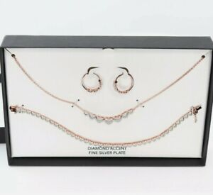 Macy's Diamond Accent Rose Gold Sterling Silver Plated Necklace Set $200