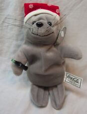 "Coca-Cola Coke Cute Seal With Snowflake Hat 8"" Bean Bag Stuffed Animal Toy New"