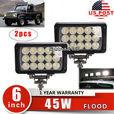 "2X 6"" 45W LED Flood Beam Work Driving Light For SUV Tractor 4WD Camper Offroad"