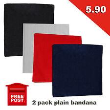 Bandana 2 pack 100% Cotton Head Wrap Scarf Wristband New Black White Red Navy