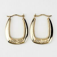 10KT Yellow Gold Oval Hollow Hoop Post Earrings Very Cute and Lightweight Etched