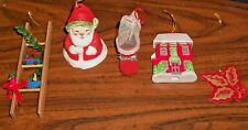 Vintage Christmas Decorations, Snowman Bell, Santa Boot, Mistletoe Ladder Train