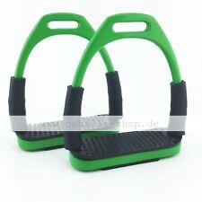 Neu Caballi Curve Grün Sicherheitssteigbügel mit Gelenk super flexibel