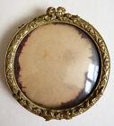 Petit cadre rond en bronze peinture miniature ou photo 19e siècle photo frame