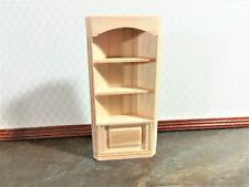Dollhouse  Miniature Unfinished 1:24 Half Scale Corner Library Bookcase