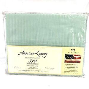 Veratex 100% Egyptian Cotton 310 TC Extra Long Twin Sheet Set Mint Green Stripe