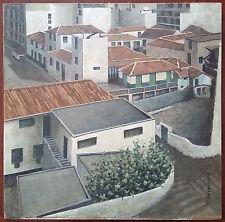 """Ancien Tableau """"Ville Industrielle"""" Peinture Huile Antique Oil Painting"""