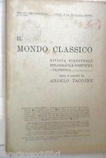 IL MONDO CLASSICO 1939 Mazzantini Ad Marcum Antoninum Di Capua Laurano Zappa di