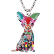 Pendant For Women Charm Decor Gifts Enamel Alloy Chihuahuas Dog Necklace Collar