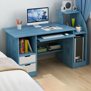 113CM Small Computer Desk PC Table with 2 Cabinet Laptop Home Office Workstation