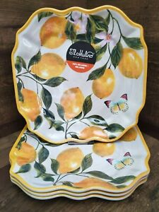 IL Mulino Lemon Tree Floral Butterfly Melamine Square Dinner Plates 4pc
