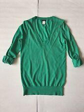 J Crew Turquoise V-neck long sweater S 100% Merino wool