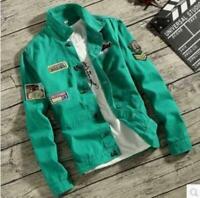 Mens Jacket Coat Denim Jeans Military Slim Fit Outwear Spplique Casual Fashion