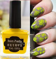 BORN PRETTY 15ml Nail Art Stamping Polish Yellow Nail Polish Varnish Decors #6