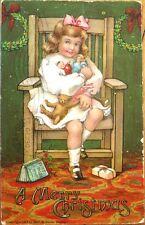 Teddy Bear & Dolls in Little Girl's Lap - 1907 Christmas Postcard - Color Litho