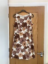 L.K BENNETT Ivory Brown Floral Sleeveless Knee Length Fitted Dress Size 14 - NEW