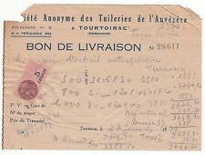 RECU LIVRAISON SC ANONYME DES TUILERIES DE L  AUVEZERE TIMBRE FISCAL