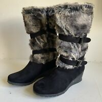 Ladies Faux Fur Lined Long Black Suede and Faux Fur Boots Size EU40 Brand New