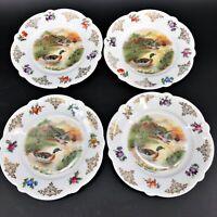 "4 Vintage Mallard Duck Scenic Plate Set Hand Painted in Bavaria, Germany 6"""