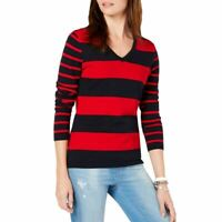 TOMMY HILFIGER NEW Women's Cotton Rugby-stripe V-Neck Sweater Top TEDO