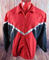 Vintage GK Windbreaker Sz XL Red Black Silver VTG 80s 90s Colorblock Color Block