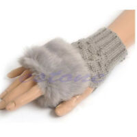 Fashion Girl Ladies Fingerless Fur Winter Warm Wrist Knitted Wool Mitten Gloves