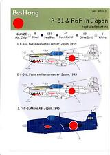 Bestfong Decals 1/48 NORTH AMERICAN P-51 MUSTANG & GRUMMAN F6F HELLCAT IN JAPAN